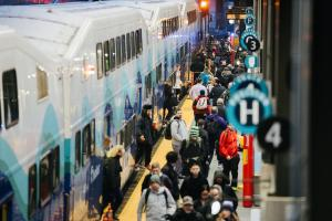 Riders disembark Sounder trains at King Street Station