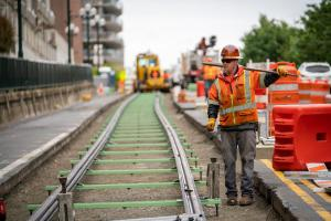 New rails being installed in Tacoma for the Hilltop Tacoma Link Extension opening in 2022.