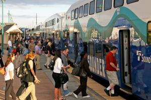 Morning commuters board the Sounder in Puyallup.