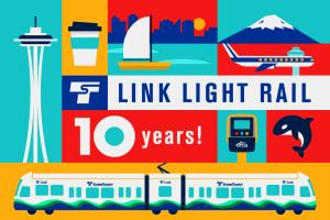 A picture of the commemorative Link 10th birthday ORCA cards showing a light rail train, the Space Needle, Mt. Rainier and other Seattle icons.