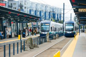 Link light rail trains at Othello Station