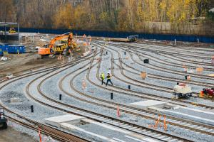Construction is underway at Sound Transit's new rail yard in Bellevue.