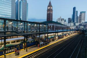 Sounder train ready to depart King Street Station