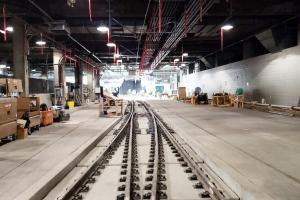 New tracks installed just south of the International District/Chinatown Station
