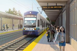 A station rendering shows a Link light rail train arriving in Federal Way.