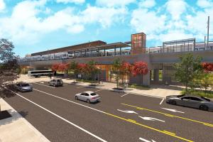 Kent-Des Moines station area rendering, looking southwest across 30th Ave S.