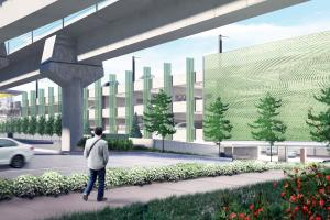 Artist rendering of the future South Bellevue Park-and-Ride garage.