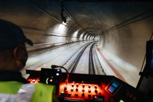 A view from the Operator's cab during testing in the tunnels between University of Washington Station and Northgate Station.