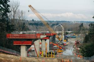 New columns to support light rail tracks to Federal Way rise in SeaTac.