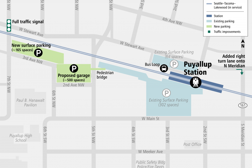 Map of Puyallup Station Parking and Access Improvements area