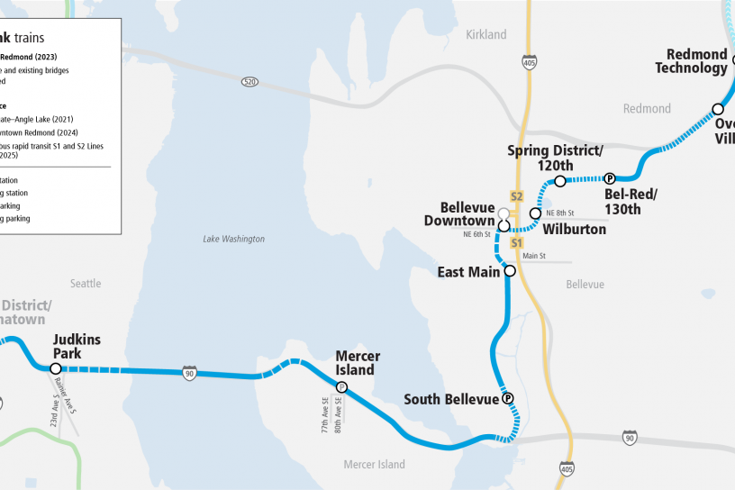 System Expansion web map for East Link Extension