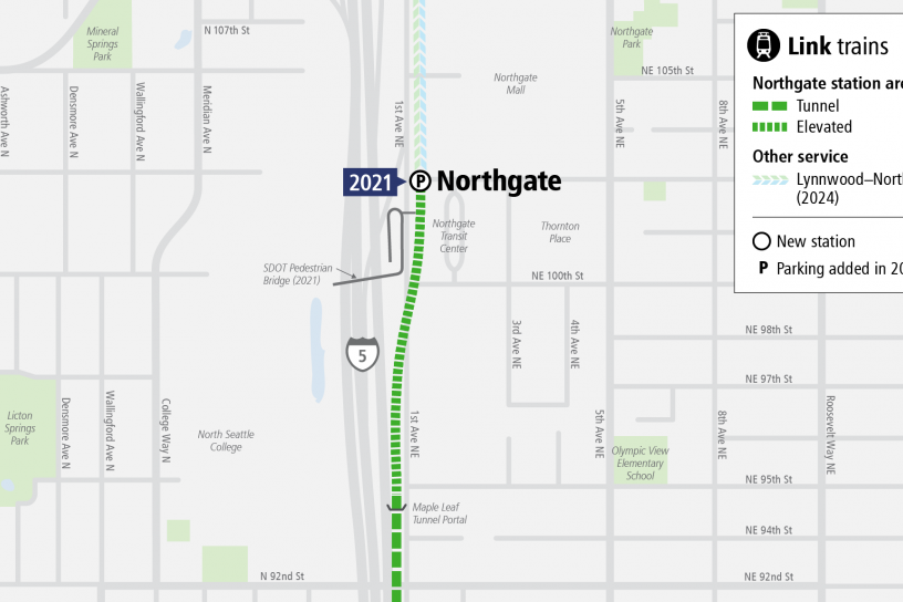 System Expansion web map for Northgate Station